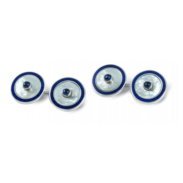 18ct Gold Round Mother-of-Pearl and Sapphire Cufflinks Chain Fitting