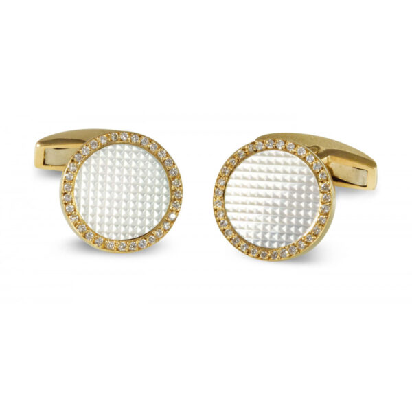 18ct Gold Round Hobnail Patterned Cufflinks with Diamonds and Mother-of-Pearl Inlay