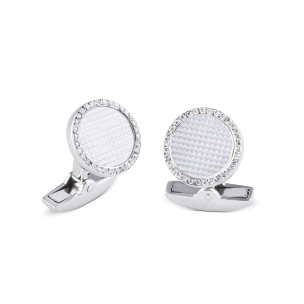 18ct White Gold Hobnail Pattern Cufflinks With Diamonds