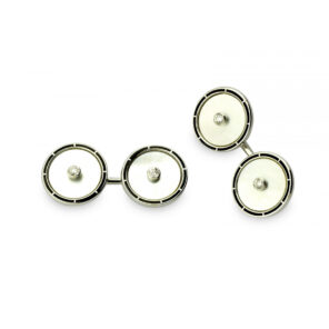 18ct White Gold Mother-of-Pearl Cufflinks with Diamond Centre & Black Border