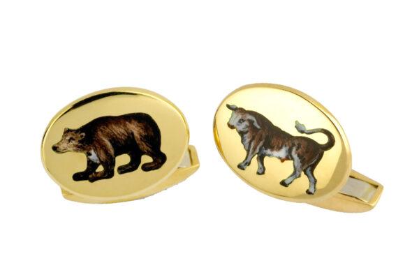 18ct Yellow Gold Hand-Painted Enamel Bull & Bear Cufflinks