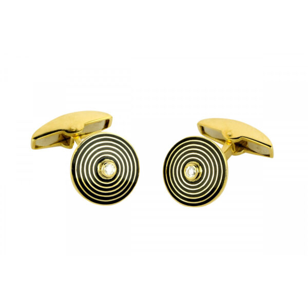 18ct Yellow Gold Cufflinks with Black Stripe and Diamond Centre