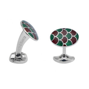 Sterling Silver Bright Green & Maroon Red Enamel Cufflinks