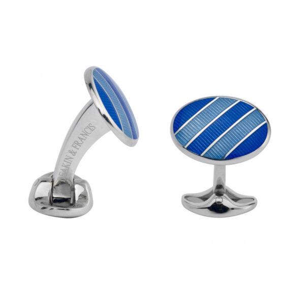 Sterling Silver Royal Blue & Denim Blue Enamel Cufflinks