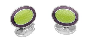 Sterling Silver Lilac and Lime Green Enamel Cufflinks