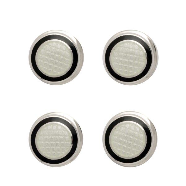 Sterling Silver Black and White Enamel Dress Stud Set