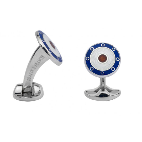 Sterling Silver Round Navy Blue, Clear & Red Enamel Cufflinks