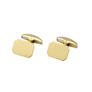 18ct Gold Oblong Cut Corner Cufflinks