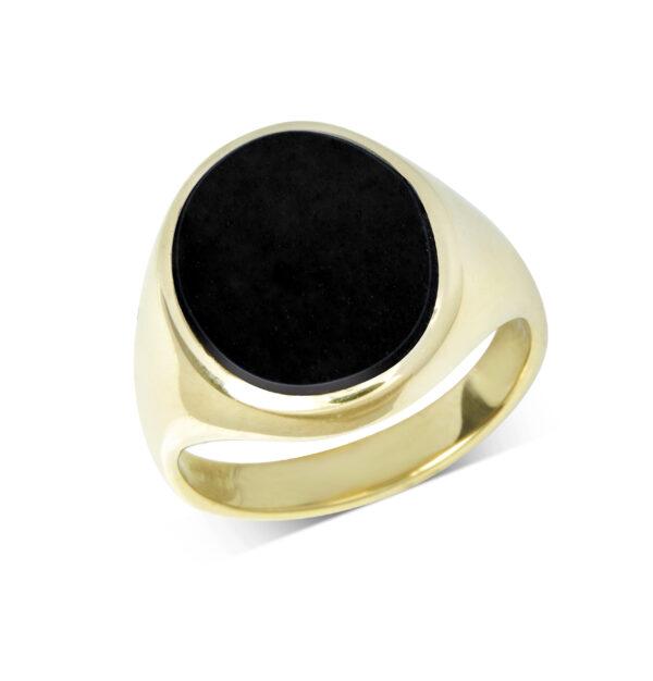 Yellow Gold Onyx Stone Set Signet Ring