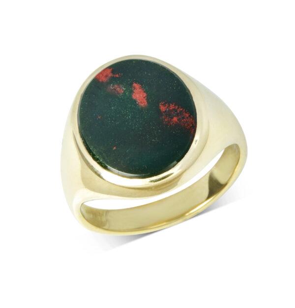 Yellow Gold Bloodstone Stone Set Signet Ring