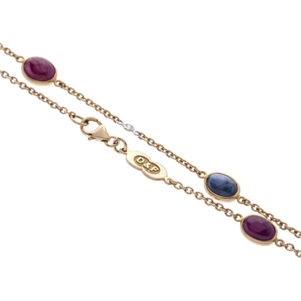 18ct Yellow Gold Diamond, Ruby and Sapphire Necklace