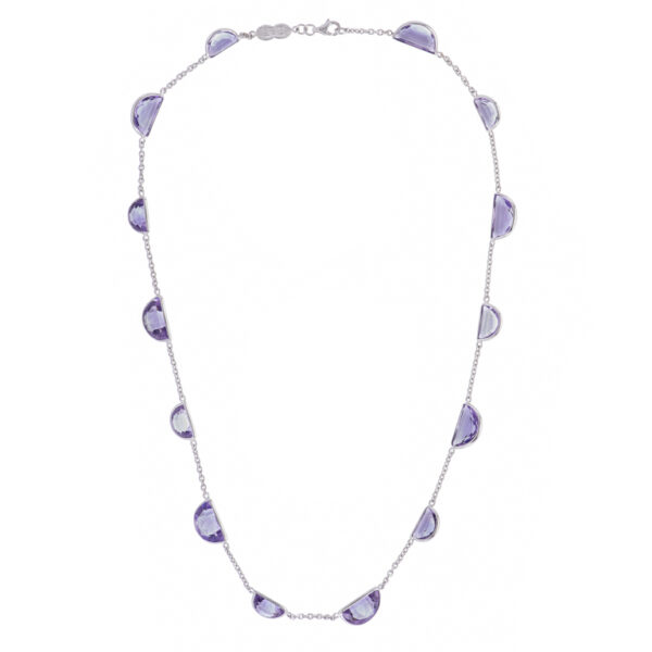 18ct White Gold Fancy Cut Amethyst Necklace