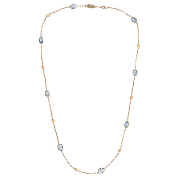 18ct Yellow Gold Blue Topaz and Fire Opal Necklace
