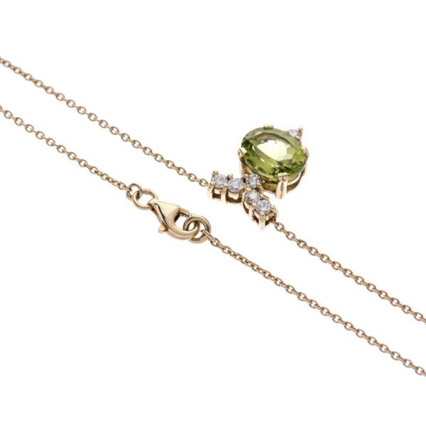 18ct Gold Peridot and Diamond Pendant