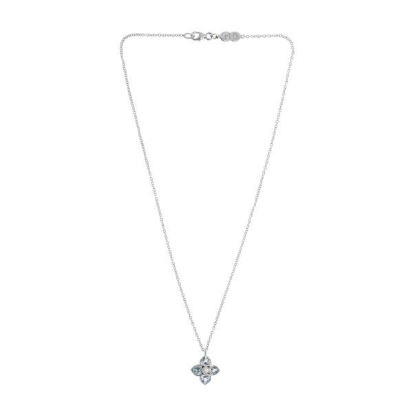 18ct White Gold Aquamarine And Diamond Cluster Pendant