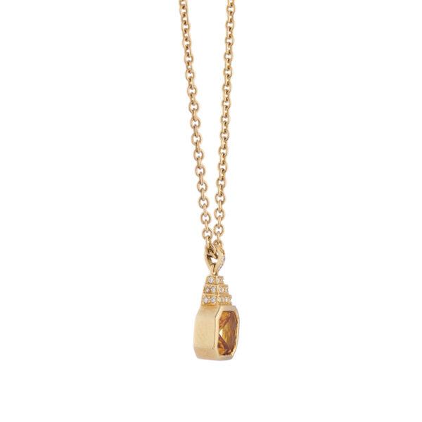 18ct Yellow Gold Citrine And Diamond Pendant