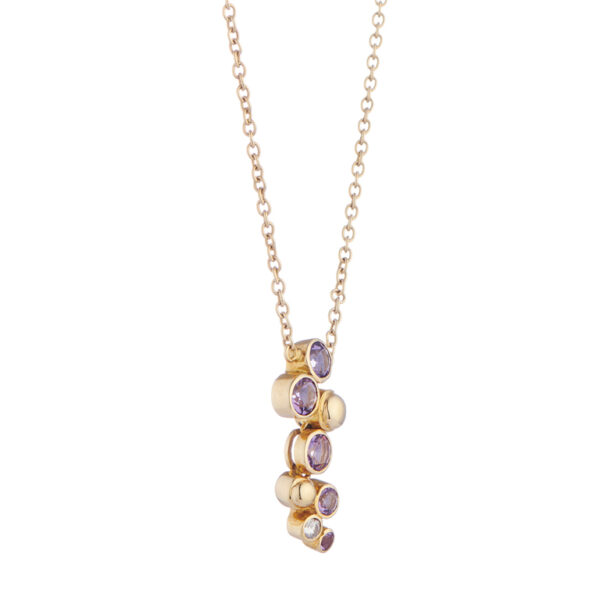 18ct Yellow Gold Cascade Amethyst and Diamond Drop Necklace