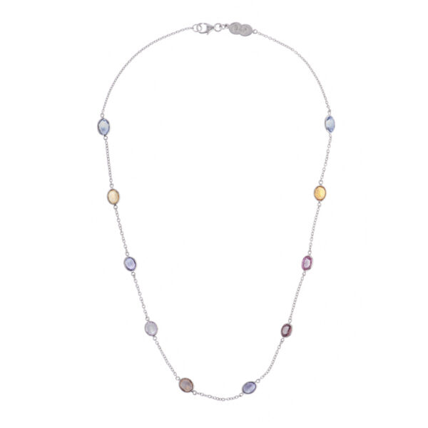 18ct White Gold Fancy Colour Sapphire Necklace