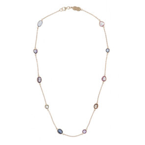 18ct Yellow Gold Fancy Colour and Fancy Shape Sapphire Necklace