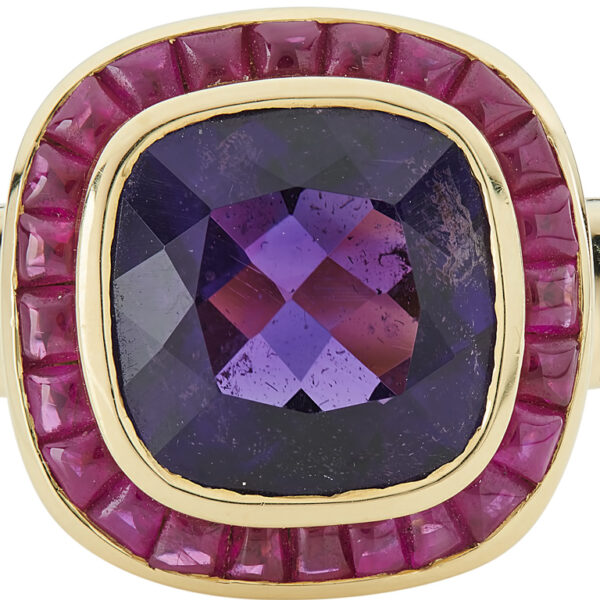 18ct Yellow Gold Cushion Shape Amethyst Ring With Ruby Border