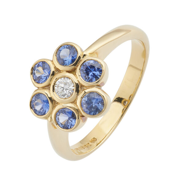18ct Yellow Gold Sapphire and Diamond Cluster Ring
