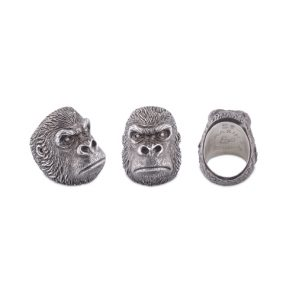 Oxidised Sterling Silver Grumpy Gorilla Ring