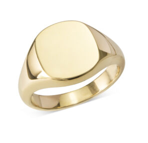 18ct Gold Cushion Signet Ring - Heavy Weight (12 x 12mm)