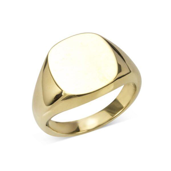 Gold Cushion Signet Ring (14x13mm)