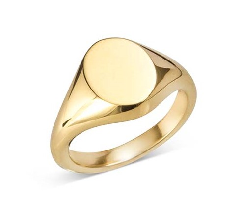 Gold Small Oval Signet Ring (10.5x8.5mm)