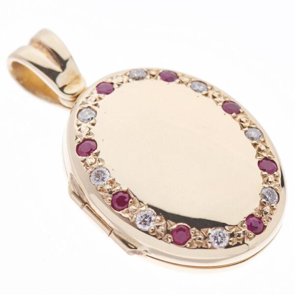 9ct Yellow Gold Ruby And Diamond Set Locket