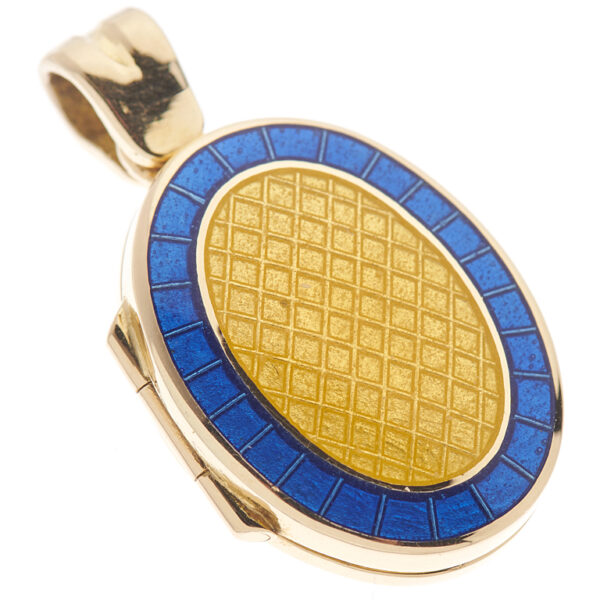 18ct Yellow Gold Small Royal Blue And Clear Enamel Locket