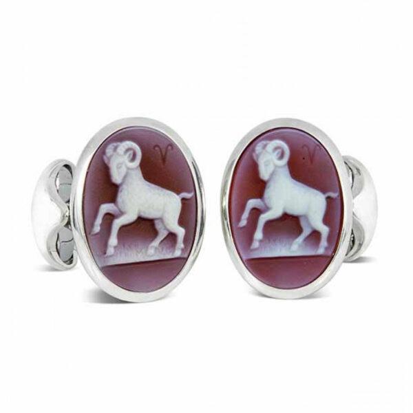 Sterling Silver Zodiac Cufflinks - Aries