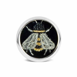 Sterling Silver Embroidered Bee Lapel Pin