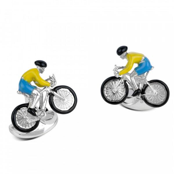 Sterling Silver Bike & Rider Cufflinks