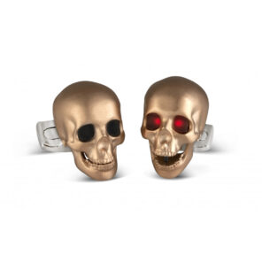 Skull Cufflinks with LED Eyes in Rose Gold Satin Finish