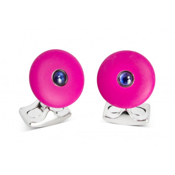 'The Brights' Hot Pink Round Cufflinks with Sapphire Centre