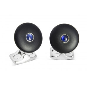 'The Brights' Black Round Cufflinks with Sapphire Centre