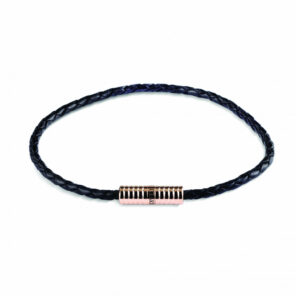 Black Leather Bracelet with Rose Plated Clasp