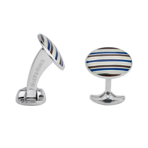Sterling Silver Maroon Red & Navy Blue Enamel Cufflinks