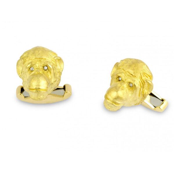 18ct Yellow Gold Chimpanzee Cufflinks with Diamond Eyes