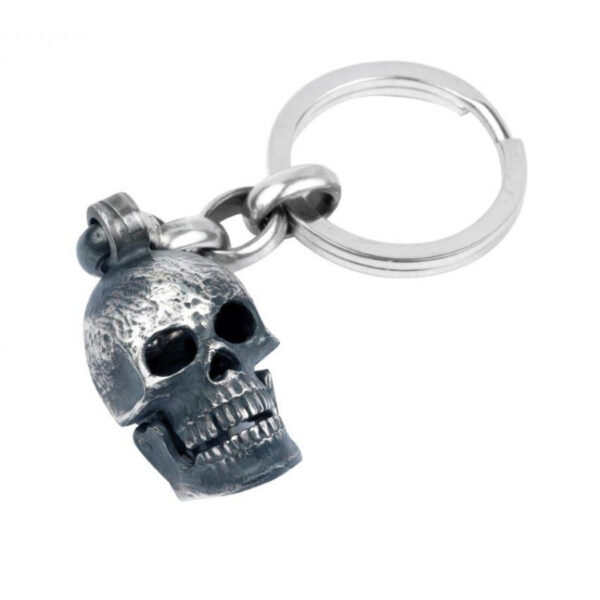 Large Skull Head Keyring with Popping Gem Eyes