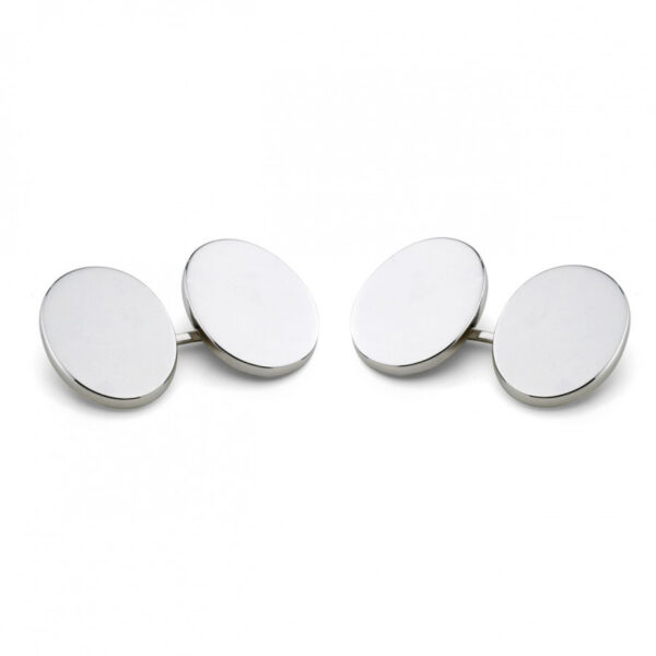 Sterling Silver Plain Oval Linked Cufflinks