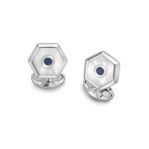 Sterling Silver Hexagonal Cufflinks with White Mother-of-Pearl and Sapphire