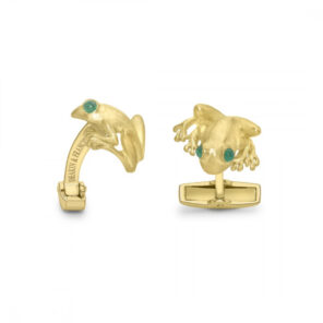 18ct Yellow Gold Tree Frog Cufflinks with Emerald Eyes