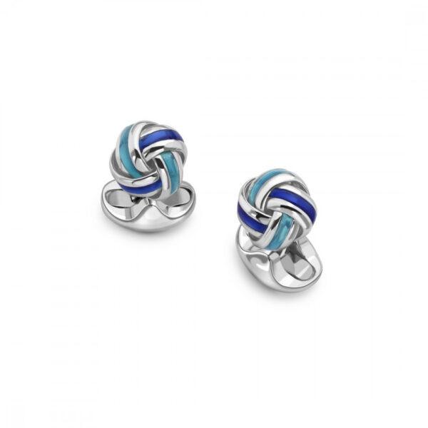 Sterling Silver Blue Enamel Knot Cufflinks