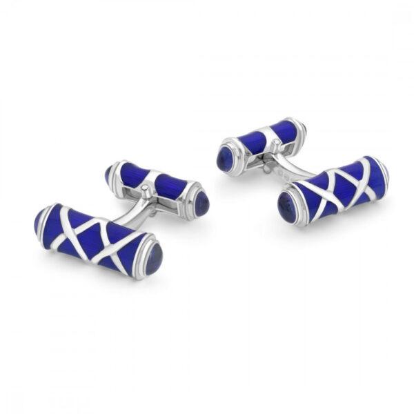 Sterling Silver Blue Cross Hatch Design Cufflinks with Sapphire