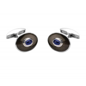18ct White Gold Enamel Cufflinks with Sapphire Centre
