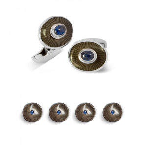 18ct White Gold Enamel and Sapphire Dress Stud Set