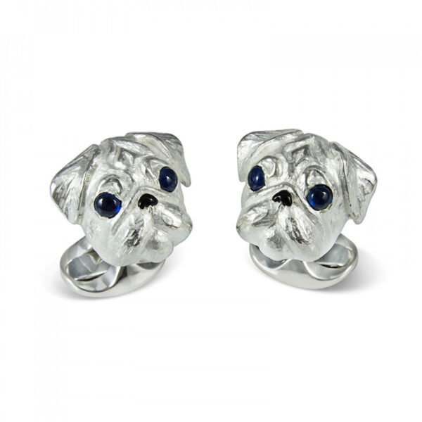 Sterling Silver Pug Dog Cufflinks