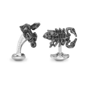 Sterling Silver Black Spinel Scorpion Cufflinks